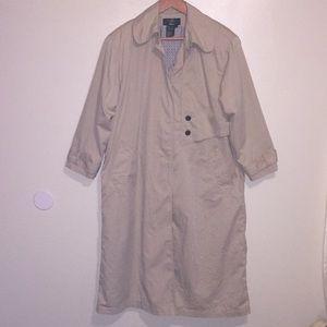 Orvis long tan khaki trench coat